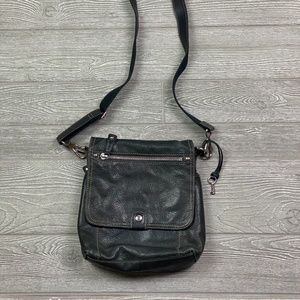 FOSSIL Cross Body Distressed Grey Leather Satchel